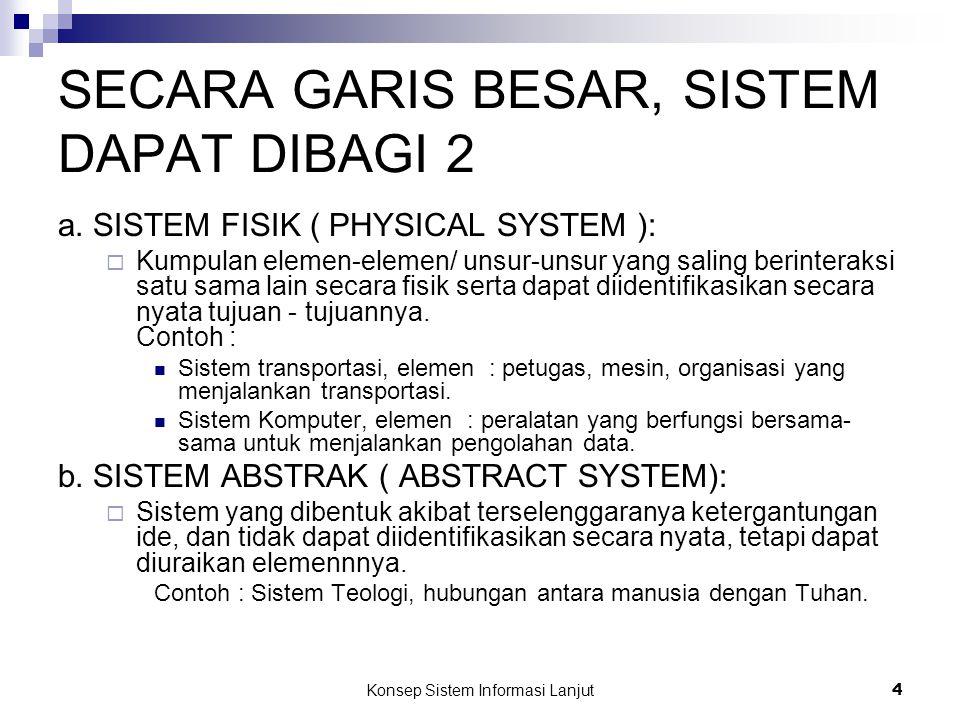 Konsep Sistem Informasi Lanjut 4 SECARA GARIS BESAR, SISTEM DAPAT DIBAGI 2 a. SISTEM FISIK ( PHYSICAL SYSTEM ):  Kumpulan elemen-elemen/ unsur-unsur
