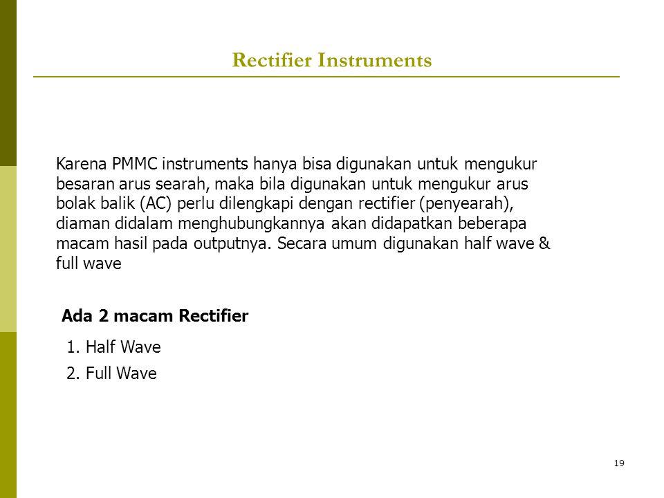 19 Rectifier Instruments Ada 2 macam Rectifier 1. Half Wave 2. Full Wave Karena PMMC instruments hanya bisa digunakan untuk mengukur besaran arus sear