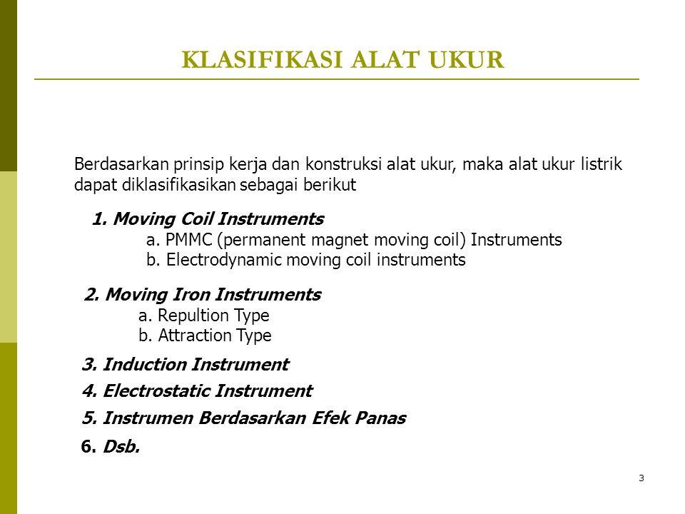 3 KLASIFIKASI ALAT UKUR Berdasarkan prinsip kerja dan konstruksi alat ukur, maka alat ukur listrik dapat diklasifikasikan sebagai berikut 1. Moving Co