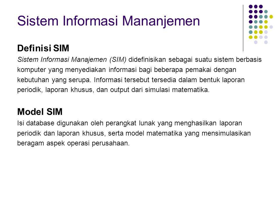 Sistem Informasi Mananjemen Definisi SIM Sistem Informasi Manajemen (SIM) didefinisikan sebagai suatu sistem berbasis komputer yang menyediakan inform
