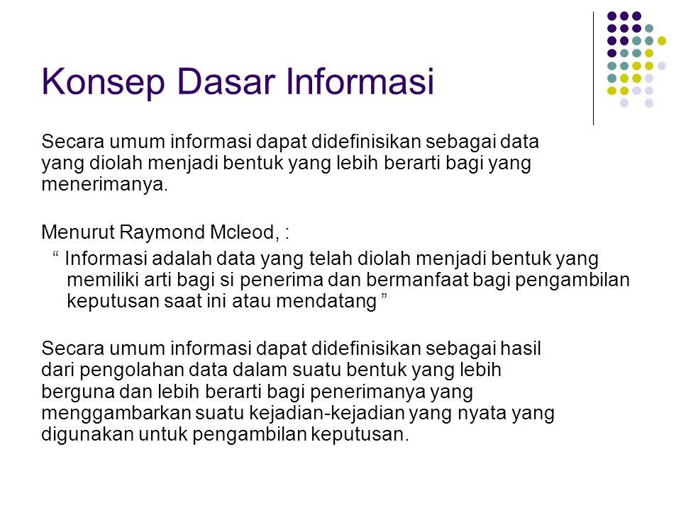Konsep Dasar Informasi Secara umum informasi dapat didefinisikan sebagai data yang diolah menjadi bentuk yang lebih berarti bagi yang menerimanya. Men