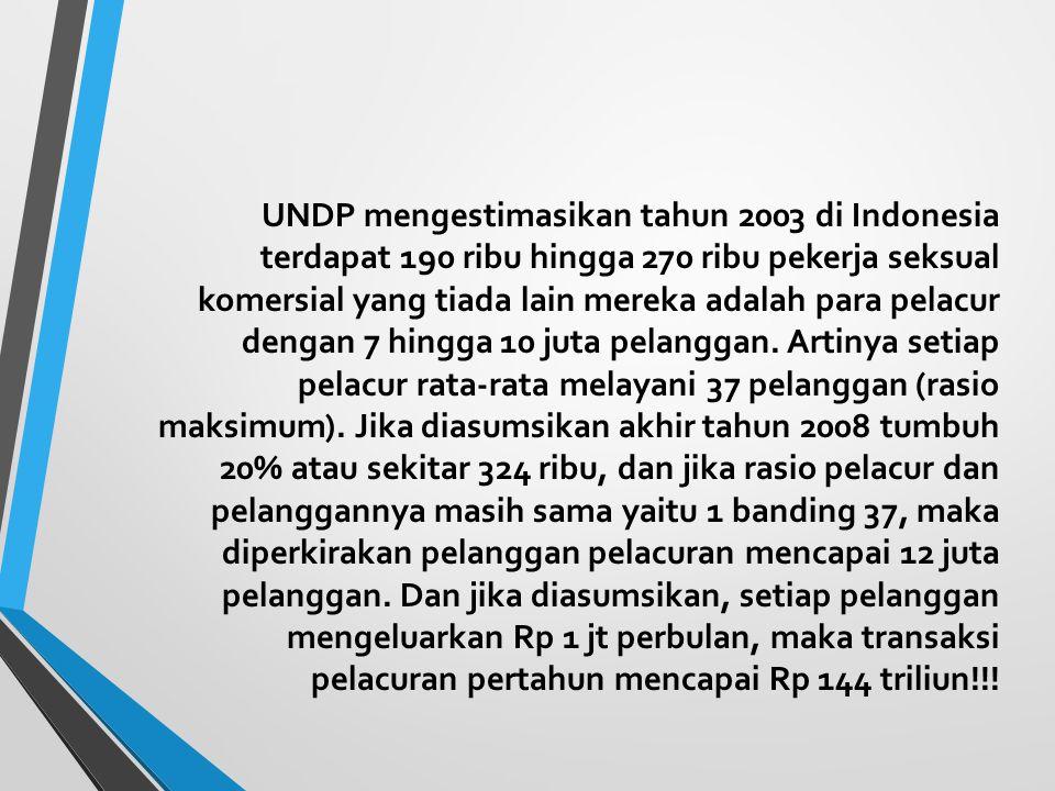 UNDP mengestimasikan tahun 2003 di Indonesia terdapat 190 ribu hingga 270 ribu pekerja seksual komersial yang tiada lain mereka adalah para pelacur de