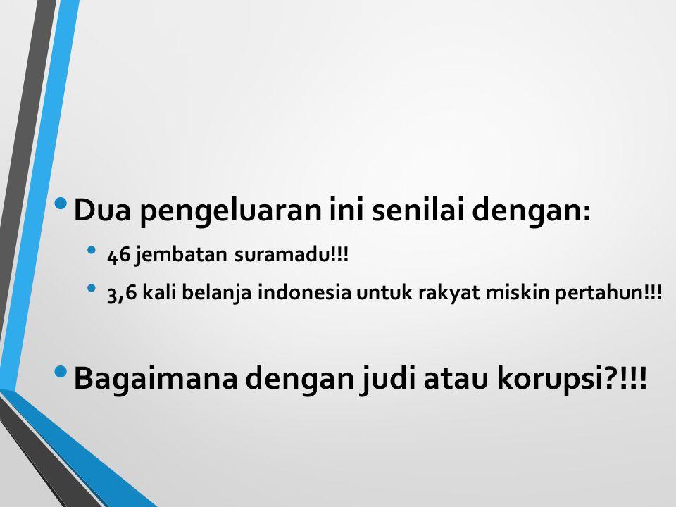 Dua pengeluaran ini senilai dengan: 46 jembatan suramadu!!! 3,6 kali belanja indonesia untuk rakyat miskin pertahun!!! Bagaimana dengan judi atau koru