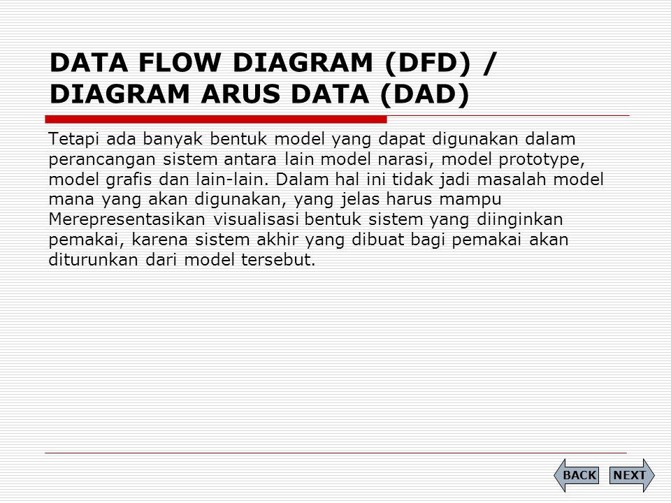 DATA FLOW DIAGRAM (DFD) / DIAGRAM ARUS DATA (DAD) Tetapi ada banyak bentuk model yang dapat digunakan dalam perancangan sistem antara lain model naras