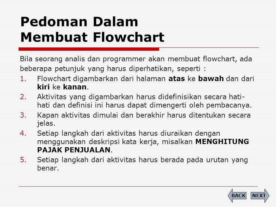 Pedoman Dalam Membuat Flowchart Bila seorang analis dan programmer akan membuat flowchart, ada beberapa petunjuk yang harus diperhatikan, seperti : 1.