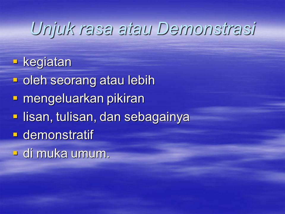 Unjuk rasa atau Demonstrasi  kegiatan  oleh seorang atau lebih  mengeluarkan pikiran  lisan, tulisan, dan sebagainya  demonstratif  di muka umum