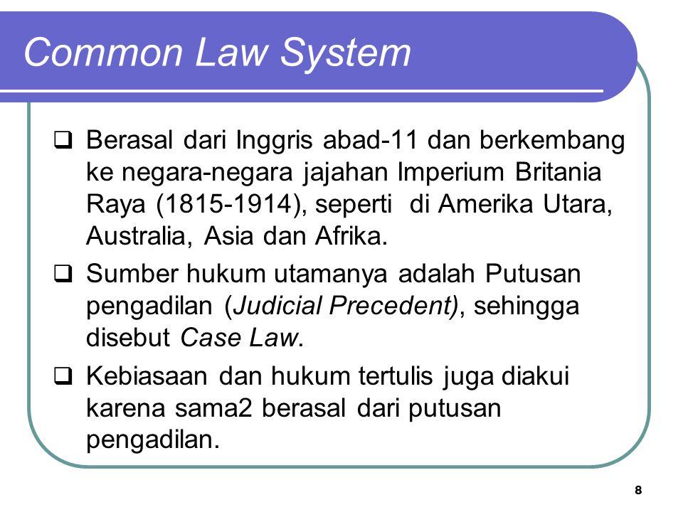 Common Law System  Berasal dari Inggris abad-11 dan berkembang ke negara-negara jajahan Imperium Britania Raya (1815-1914), seperti di Amerika Utara, Australia, Asia dan Afrika.
