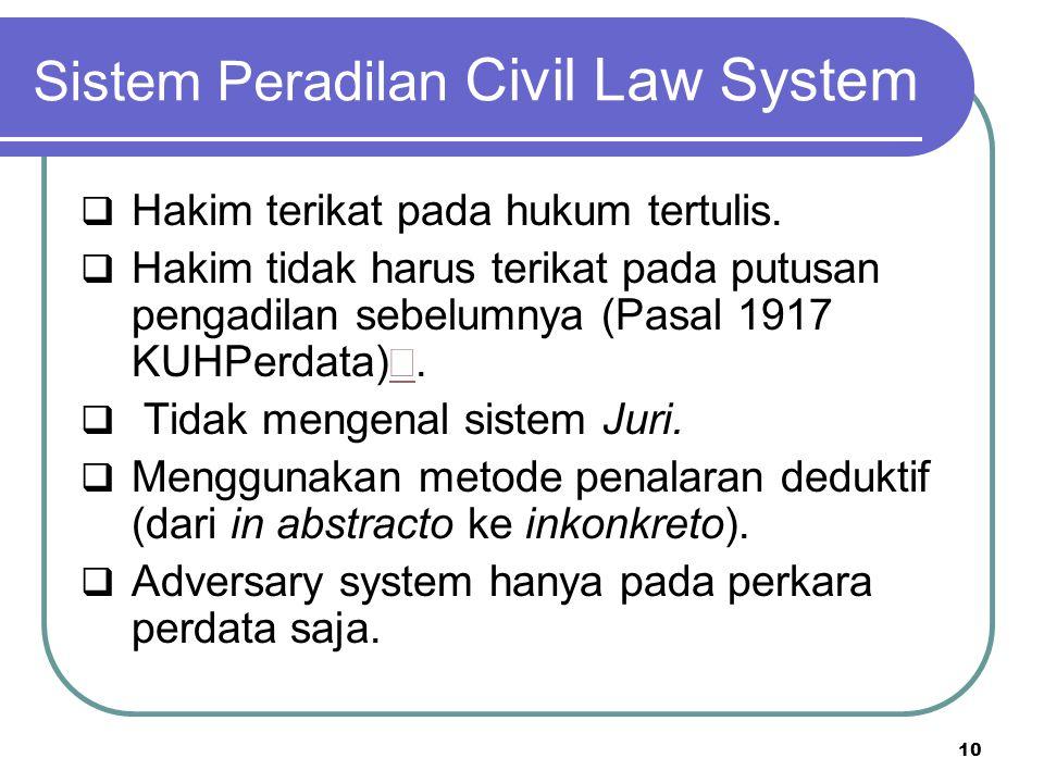 Sistem Peradilan Civil Law System  Hakim terikat pada hukum tertulis.  Hakim tidak harus terikat pada putusan pengadilan sebelumnya (Pasal 1917 KUHP