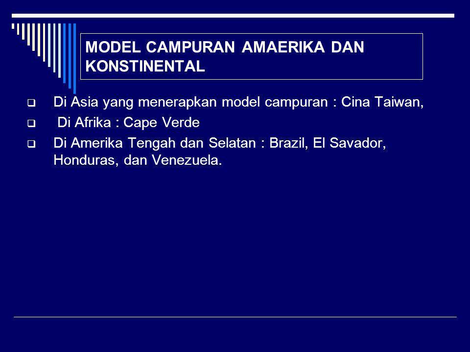 MODEL CAMPURAN AMAERIKA DAN KONSTINENTAL  Di Asia yang menerapkan model campuran : Cina Taiwan,  Di Afrika : Cape Verde  Di Amerika Tengah dan Selatan : Brazil, El Savador, Honduras, dan Venezuela.