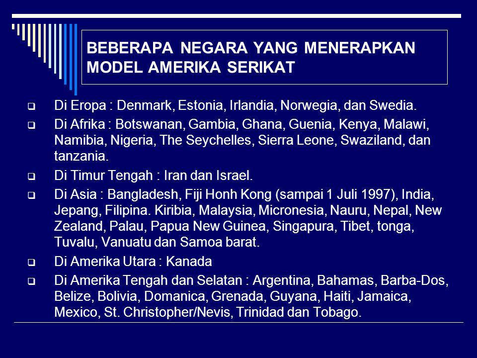 BEBERAPA NEGARA YANG MENERAPKAN MODEL AMERIKA SERIKAT  Di Eropa : Denmark, Estonia, Irlandia, Norwegia, dan Swedia.  Di Afrika : Botswanan, Gambia,
