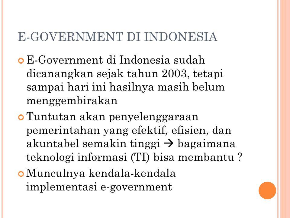 E-GOVERNMENT DI INDONESIA E-Government di Indonesia sudah dicanangkan sejak tahun 2003, tetapi sampai hari ini hasilnya masih belum menggembirakan Tun