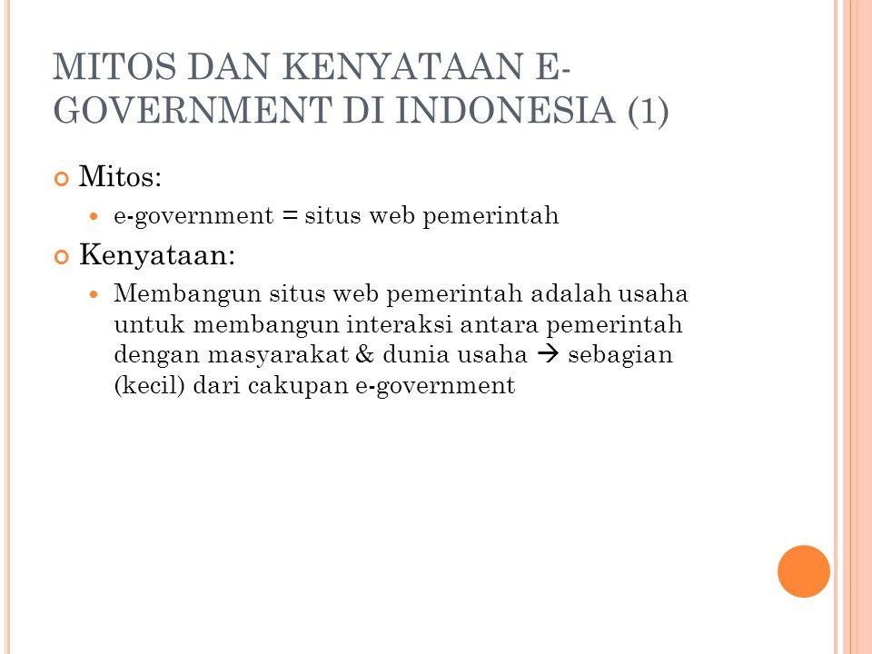 MITOS DAN KENYATAAN E- GOVERNMENT DI INDONESIA (1) Mitos: e-government = situs web pemerintah Kenyataan: Membangun situs web pemerintah adalah usaha u