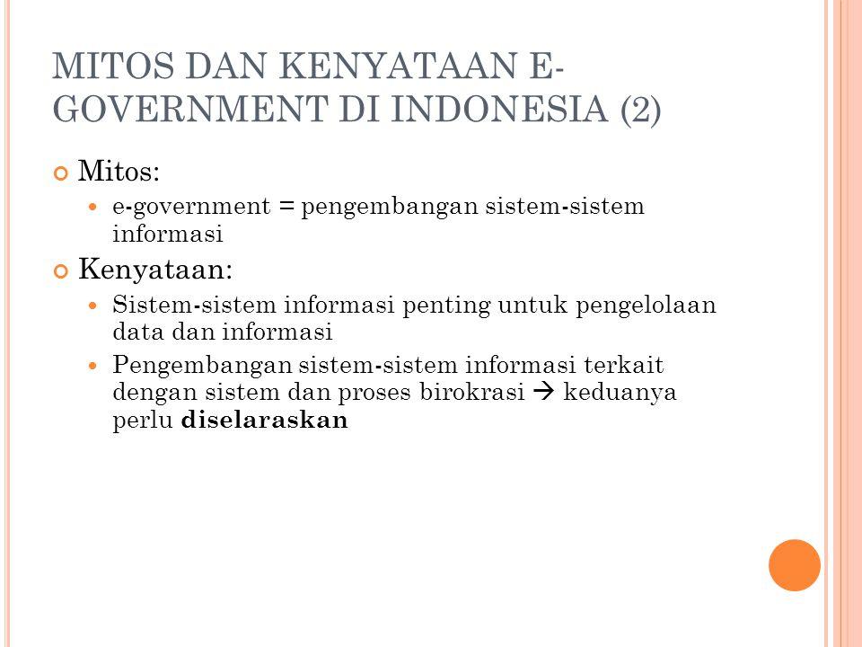 MITOS DAN KENYATAAN E- GOVERNMENT DI INDONESIA (2) Mitos: e-government = pengembangan sistem-sistem informasi Kenyataan: Sistem-sistem informasi penti