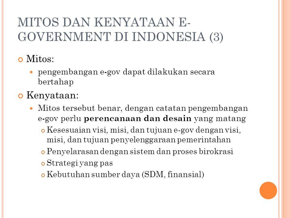 MITOS DAN KENYATAAN E- GOVERNMENT DI INDONESIA (3) Mitos: pengembangan e-gov dapat dilakukan secara bertahap Kenyataan: Mitos tersebut benar, dengan c