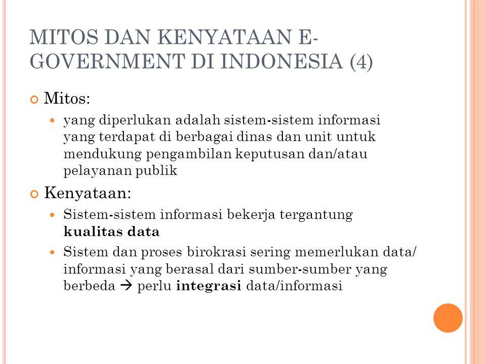 MITOS DAN KENYATAAN E- GOVERNMENT DI INDONESIA (4) Mitos: yang diperlukan adalah sistem-sistem informasi yang terdapat di berbagai dinas dan unit untu