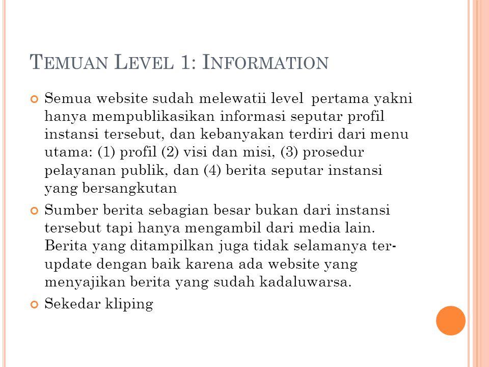 T EMUAN L EVEL 1: I NFORMATION Semua website sudah melewatii level pertama yakni hanya mempublikasikan informasi seputar profil instansi tersebut, dan