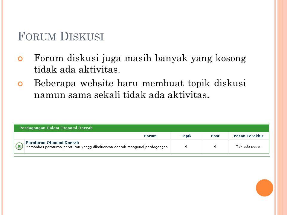 F ORUM D ISKUSI Forum diskusi juga masih banyak yang kosong tidak ada aktivitas. Beberapa website baru membuat topik diskusi namun sama sekali tidak a