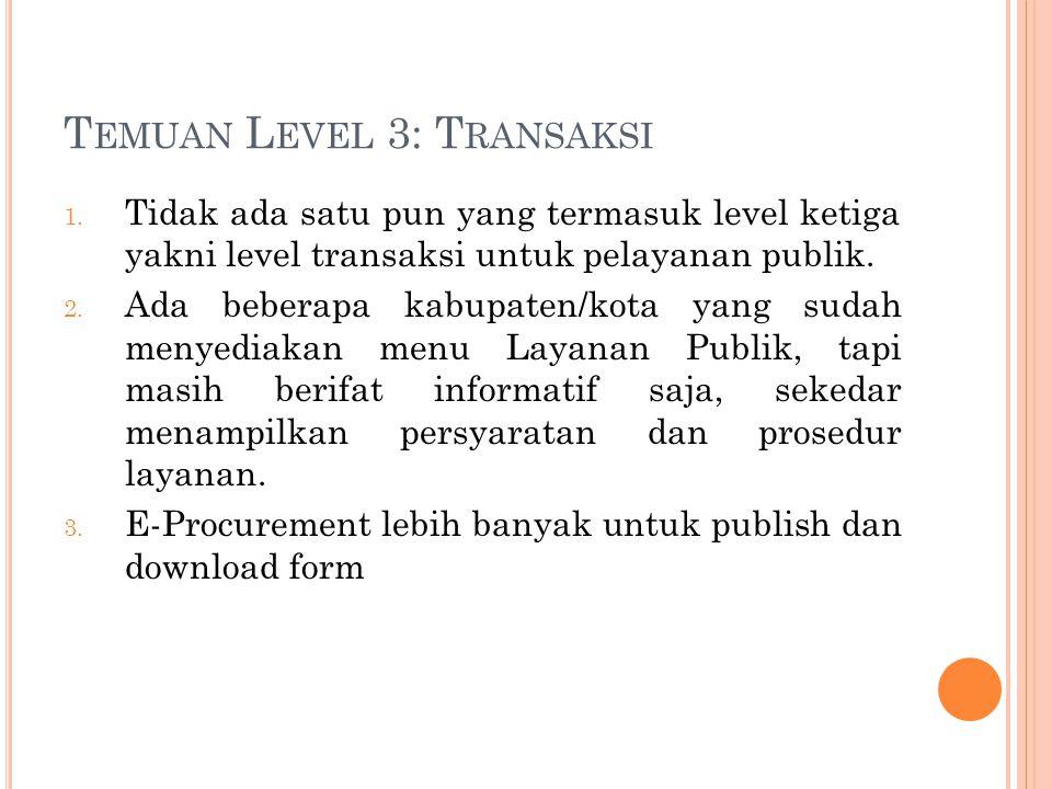T EMUAN L EVEL 3: T RANSAKSI 1. Tidak ada satu pun yang termasuk level ketiga yakni level transaksi untuk pelayanan publik. 2. Ada beberapa kabupaten/