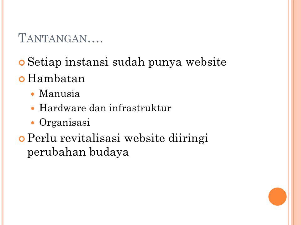 T ANTANGAN …. Setiap instansi sudah punya website Hambatan Manusia Hardware dan infrastruktur Organisasi Perlu revitalisasi website diiringi perubahan