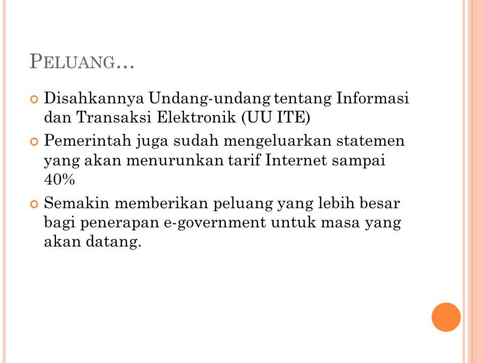 P ELUANG … Disahkannya Undang-undang tentang Informasi dan Transaksi Elektronik (UU ITE) Pemerintah juga sudah mengeluarkan statemen yang akan menurun