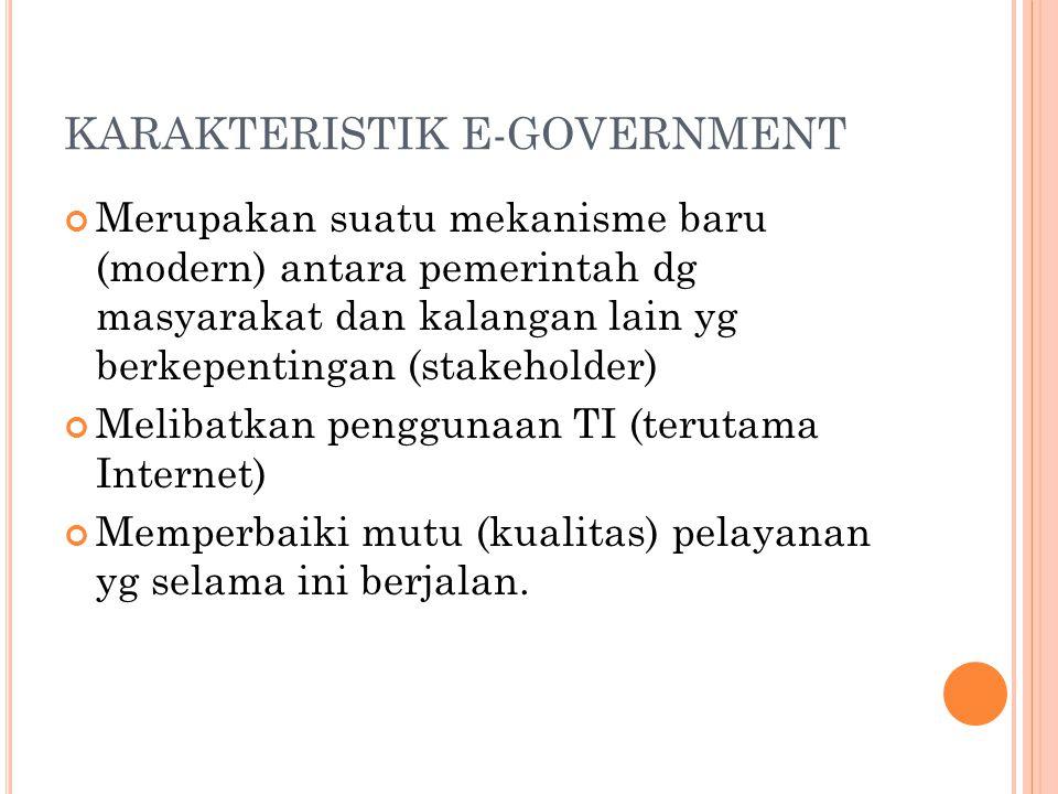 KARAKTERISTIK E-GOVERNMENT Merupakan suatu mekanisme baru (modern) antara pemerintah dg masyarakat dan kalangan lain yg berkepentingan (stakeholder) M
