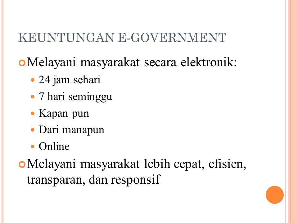 KEUNTUNGAN E-GOVERNMENT Melayani masyarakat secara elektronik: 24 jam sehari 7 hari seminggu Kapan pun Dari manapun Online Melayani masyarakat lebih c
