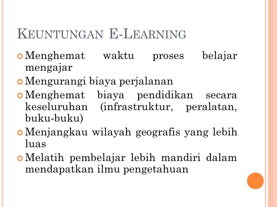 K EUNTUNGAN E-L EARNING Menghemat waktu proses belajar mengajar Mengurangi biaya perjalanan Menghemat biaya pendidikan secara keseluruhan (infrastrukt