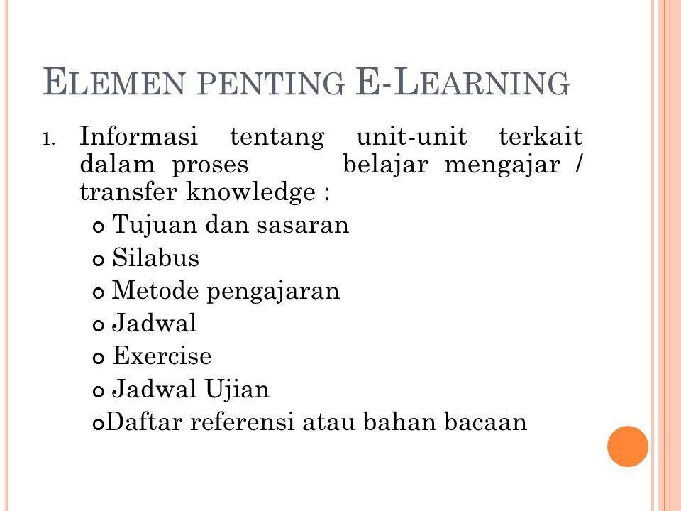 E LEMEN PENTING E-L EARNING 1. Informasi tentang unit-unit terkait dalam proses belajar mengajar / transfer knowledge : Tujuan dan sasaran Silabus Met