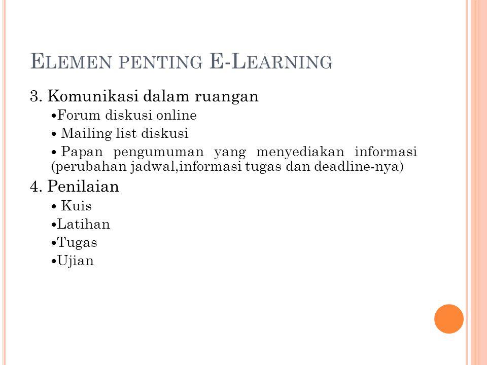 E LEMEN PENTING E-L EARNING 3. Komunikasi dalam ruangan Forum diskusi online Mailing list diskusi Papan pengumuman yang menyediakan informasi (perubah