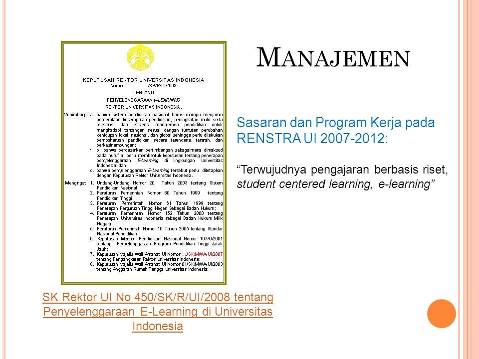 """M ANAJEMEN Sasaran dan Program Kerja pada RENSTRA UI 2007-2012: """"Terwujudnya pengajaran berbasis riset, student centered learning, e-learning"""" SK Rekt"""