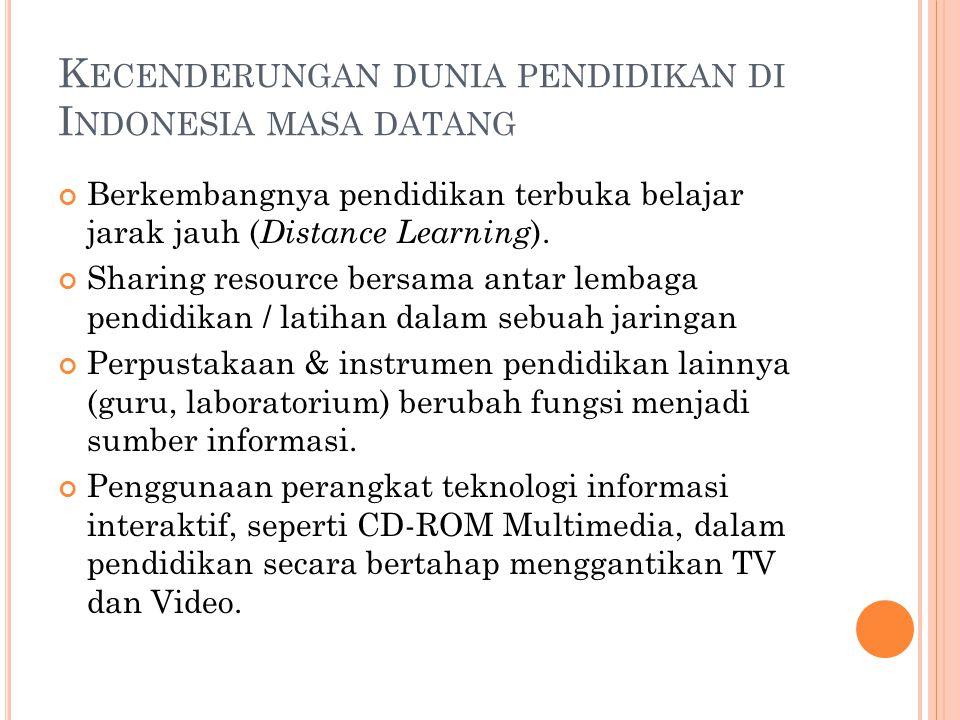 K ECENDERUNGAN DUNIA PENDIDIKAN DI I NDONESIA MASA DATANG Berkembangnya pendidikan terbuka belajar jarak jauh ( Distance Learning ). Sharing resource