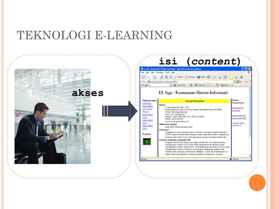 T UGAS P ENGAJAR Menyusun bahan belajar Mengemas menjadi bahan belajar on-line Berkomunikasi dengan siswa Memberi tugas Mendorong siswa untuk saling berkomunikasi Menyediakan waktu menjawab pertanyaan Mendorong siswa aktif berdiskusi