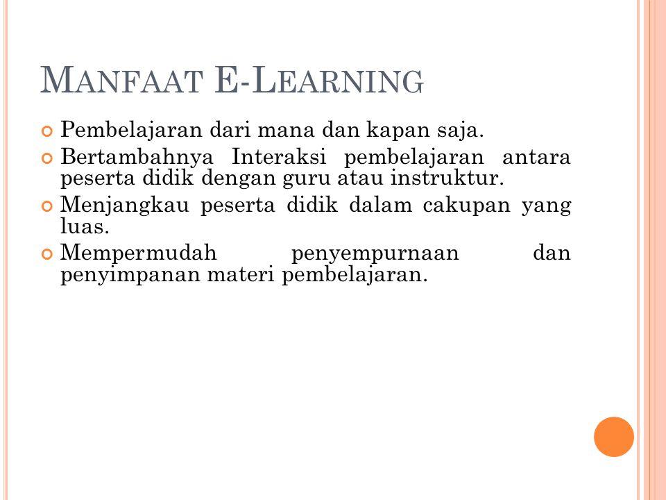 M ANFAAT E-L EARNING Pembelajaran dari mana dan kapan saja. Bertambahnya Interaksi pembelajaran antara peserta didik dengan guru atau instruktur. Menj