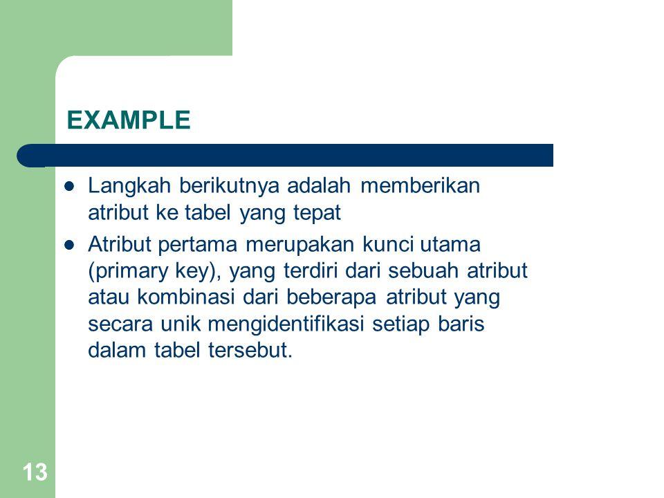 13 Langkah berikutnya adalah memberikan atribut ke tabel yang tepat Atribut pertama merupakan kunci utama (primary key), yang terdiri dari sebuah atri