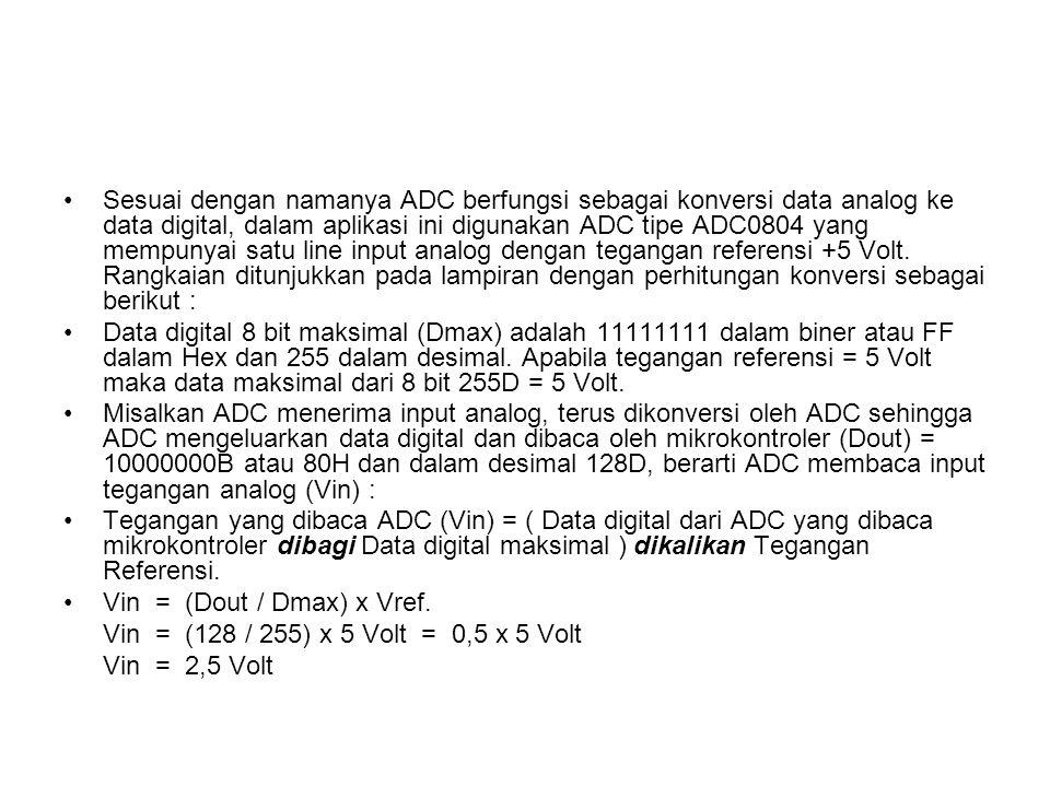 Sesuai dengan namanya ADC berfungsi sebagai konversi data analog ke data digital, dalam aplikasi ini digunakan ADC tipe ADC0804 yang mempunyai satu line input analog dengan tegangan referensi +5 Volt.