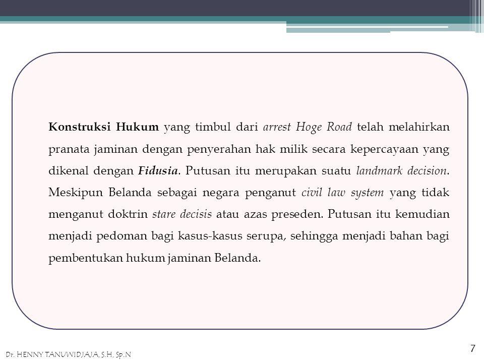 Konstruksi Hukum yang timbul dari arrest Hoge Road telah melahirkan pranata jaminan dengan penyerahan hak milik secara kepercayaan yang dikenal dengan Fidusia.