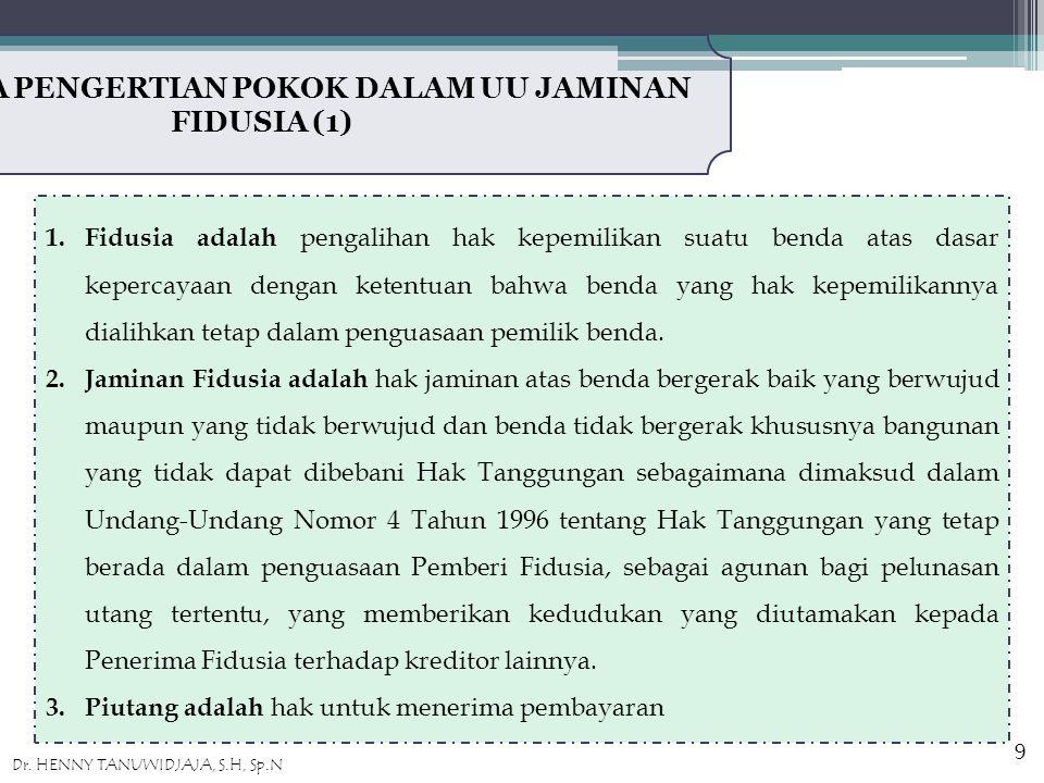 BEBERAPA PENGERTIAN POKOK DALAM UU JAMINAN FIDUSIA (1) 1.