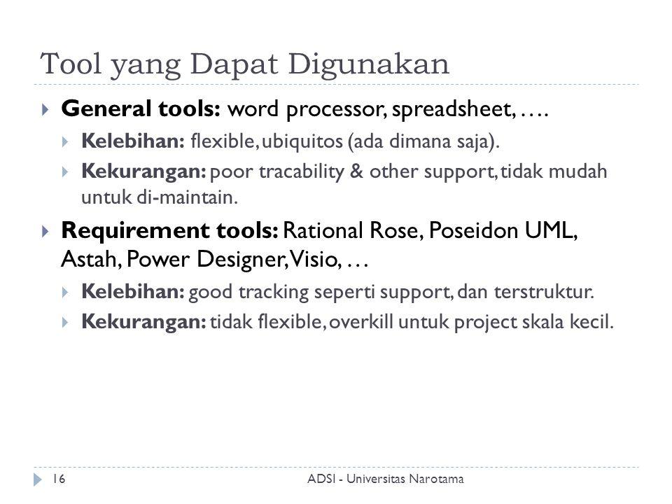 Tool yang Dapat Digunakan  General tools: word processor, spreadsheet, ….  Kelebihan: flexible, ubiquitos (ada dimana saja).  Kekurangan: poor trac