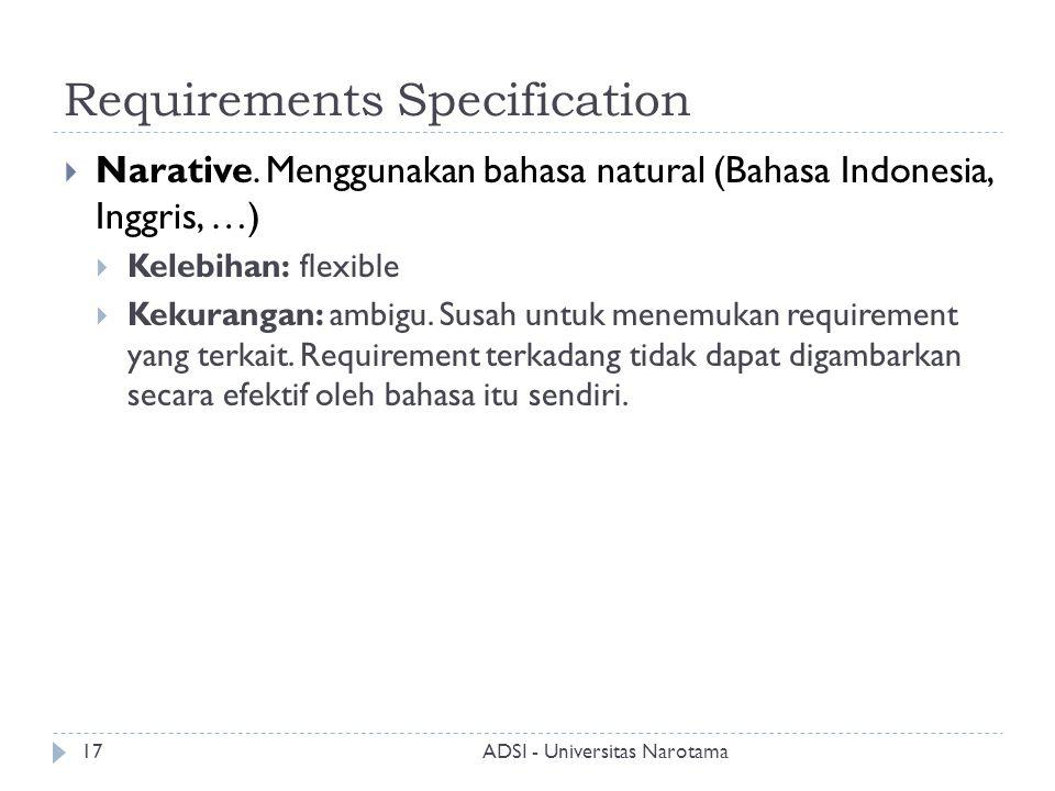 Requirements Specification  Narative. Menggunakan bahasa natural (Bahasa Indonesia, Inggris, …)  Kelebihan: flexible  Kekurangan: ambigu. Susah unt