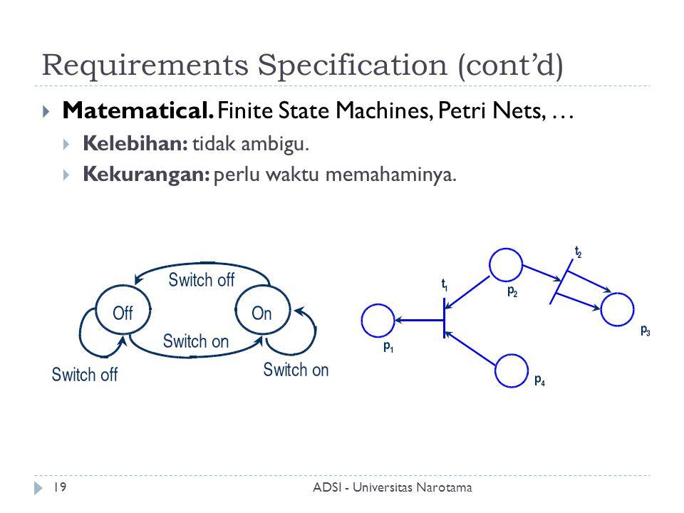 Requirements Specification (cont'd)  Matematical. Finite State Machines, Petri Nets, …  Kelebihan: tidak ambigu.  Kekurangan: perlu waktu memahamin