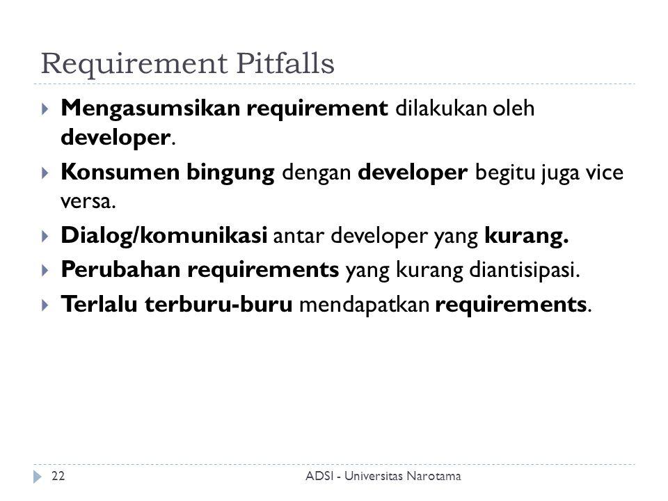 Requirement Pitfalls  Mengasumsikan requirement dilakukan oleh developer.  Konsumen bingung dengan developer begitu juga vice versa.  Dialog/komuni