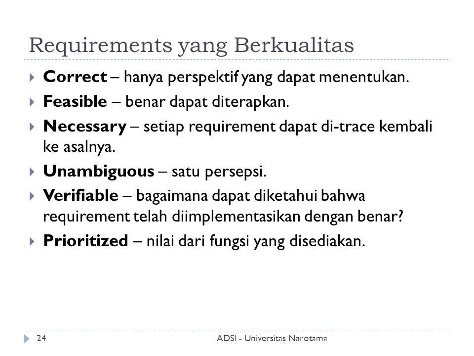 Requirements yang Berkualitas  Correct – hanya perspektif yang dapat menentukan.  Feasible – benar dapat diterapkan.  Necessary – setiap requiremen