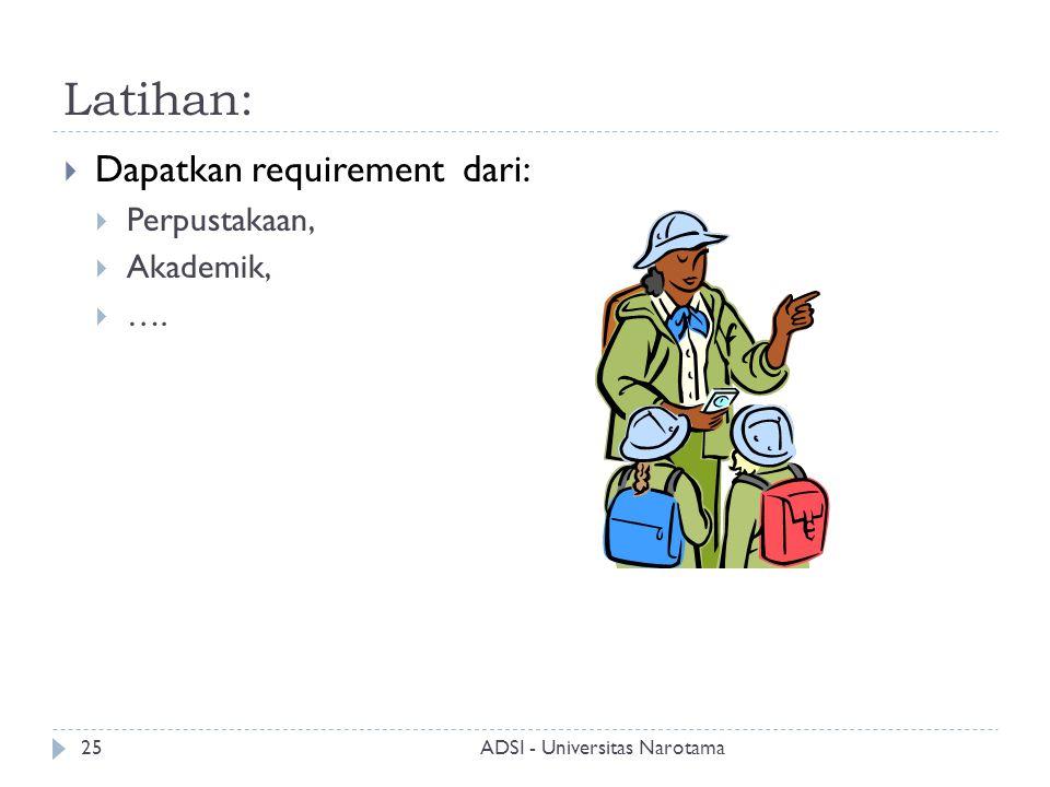Latihan:  Dapatkan requirement dari:  Perpustakaan,  Akademik,  …. ADSI - Universitas Narotama25