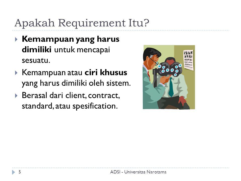 Apakah Requirement Itu?  Kemampuan yang harus dimiliki untuk mencapai sesuatu.  Kemampuan atau ciri khusus yang harus dimiliki oleh sistem.  Berasa