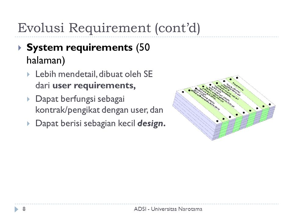 Evolusi Requirement (cont'd)  Software requirements document (250 halaman)  User requirement + system requirement + detail lebih mendalam.
