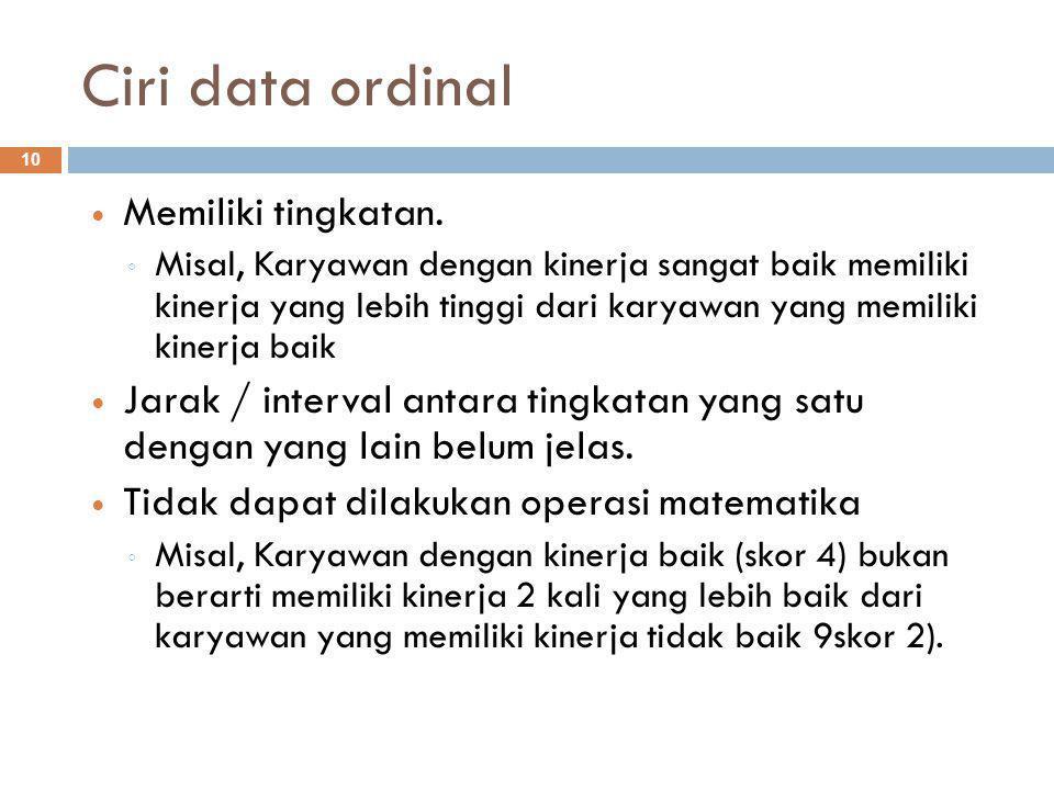 Ciri data ordinal 10 Memiliki tingkatan.