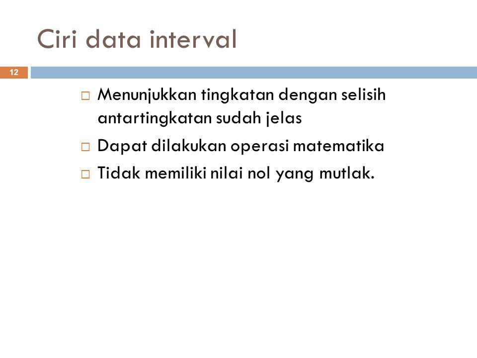 Ciri data interval 12  Menunjukkan tingkatan dengan selisih antartingkatan sudah jelas  Dapat dilakukan operasi matematika  Tidak memiliki nilai nol yang mutlak.