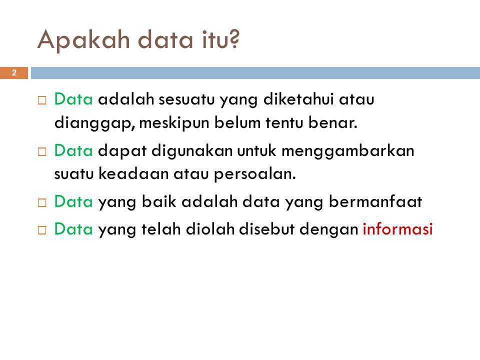 Apakah data itu.2  Data adalah sesuatu yang diketahui atau dianggap, meskipun belum tentu benar.