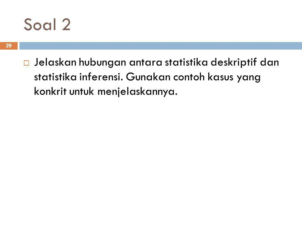 Soal 2 29  Jelaskan hubungan antara statistika deskriptif dan statistika inferensi.