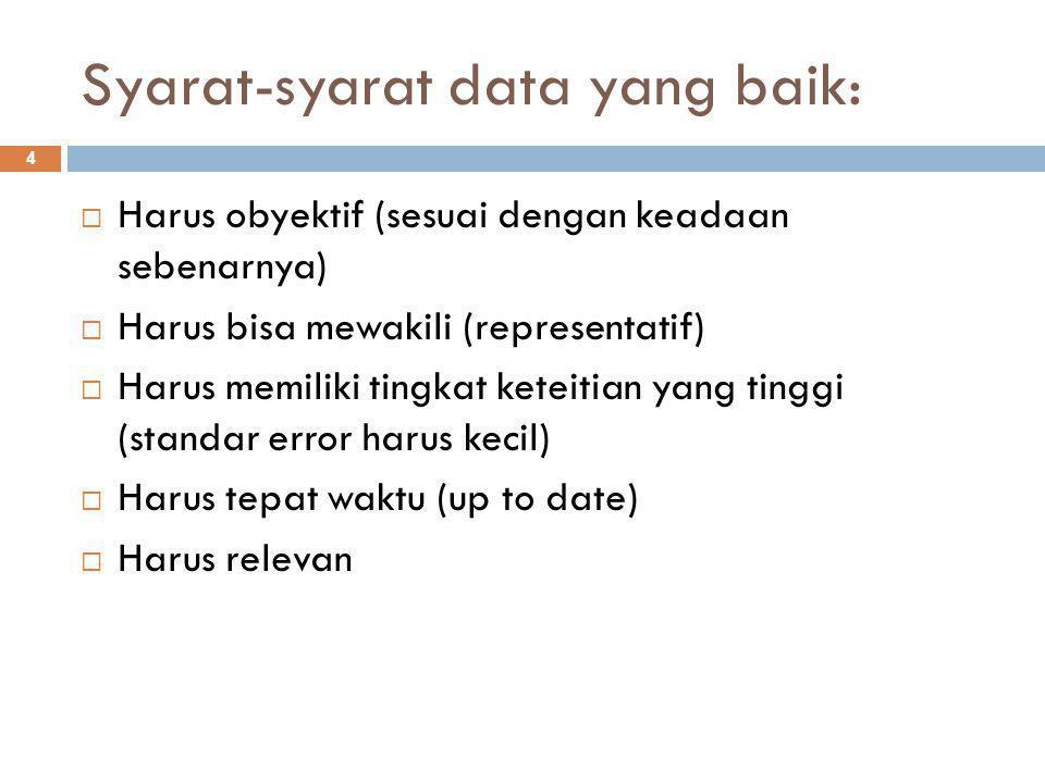 Syarat-syarat data yang baik: 4  Harus obyektif (sesuai dengan keadaan sebenarnya)  Harus bisa mewakili (representatif)  Harus memiliki tingkat keteitian yang tinggi (standar error harus kecil)  Harus tepat waktu (up to date)  Harus relevan